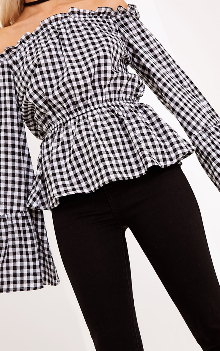 Nellie Black Gingham Check Bardot Top  5