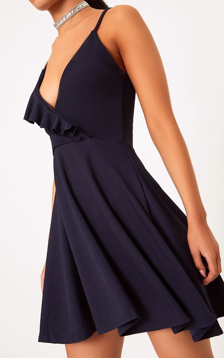 Navy Strappy Frill Detail Skater Dress  5
