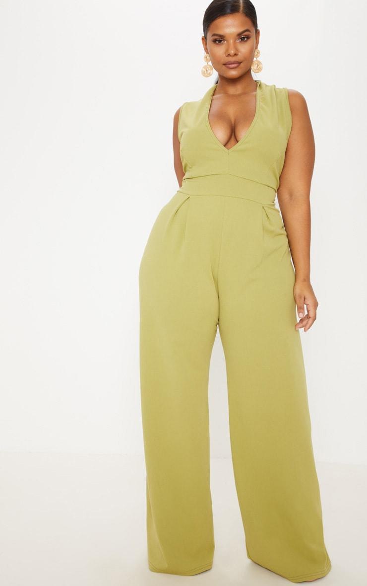 Plus Olive Green Plunge Wide Leg Jumpsuit 1