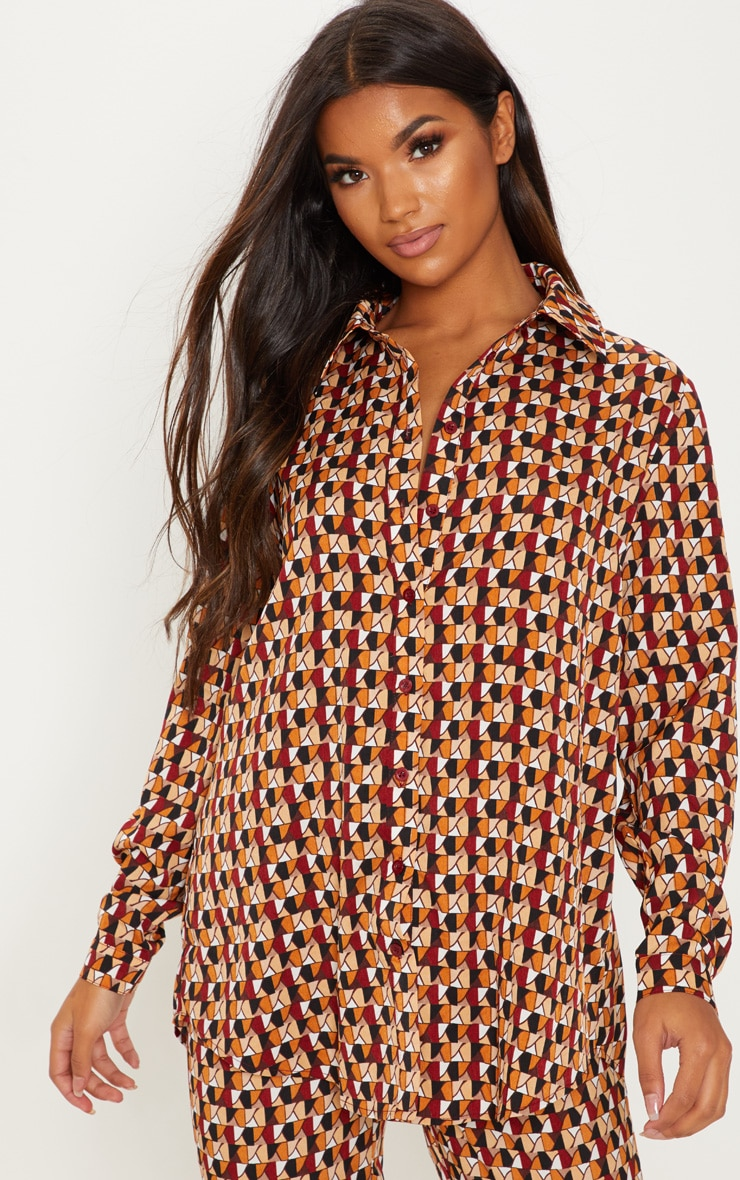 Rust Geo Print Oversized Shirt 1