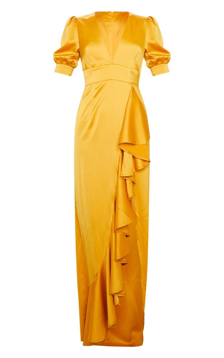 Mustard Satin Short Sleeve Frill Detail Maxi Dress 5