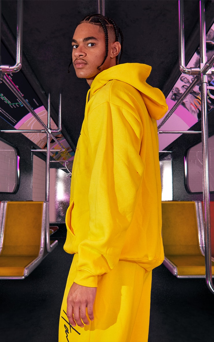 Yellow Unisex Printed Oversized Hoodie 3