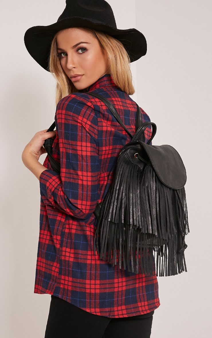 Harli Black Faux Leather Fringe Detail Backpack 1