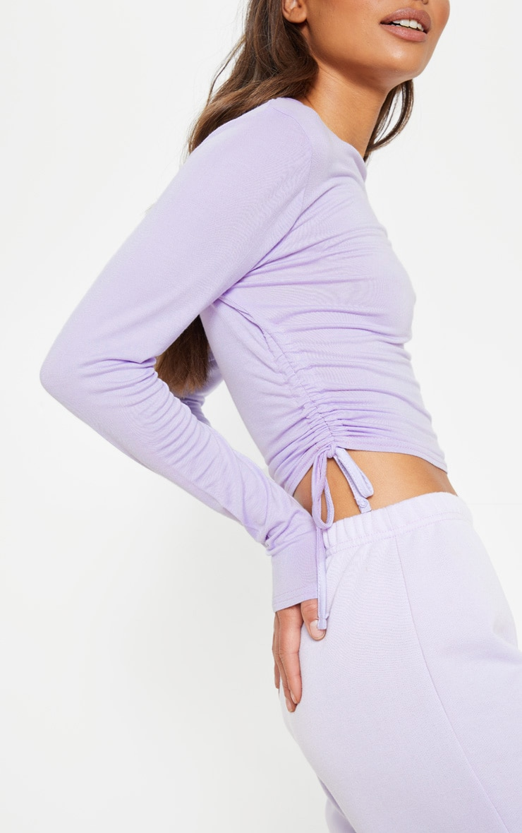Lilac Jersey Ruched Side Long Sleeve Top 5