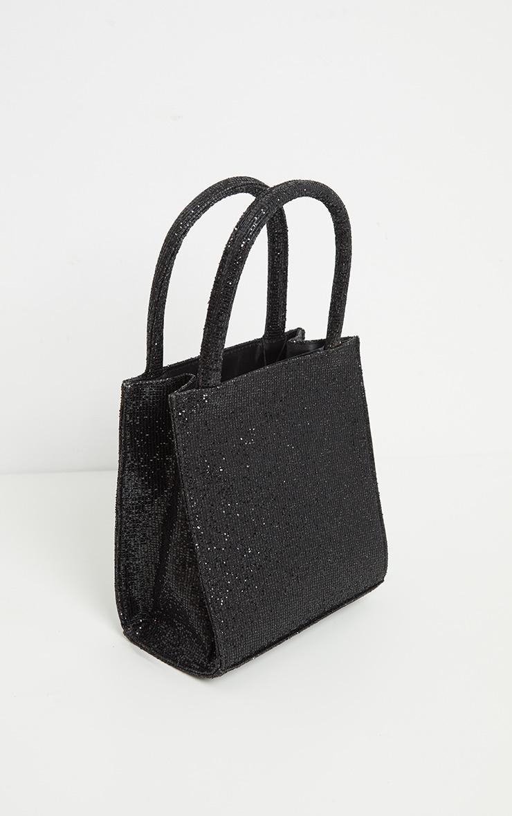 Black Glitter Rectangle Mini Tote Bag 2