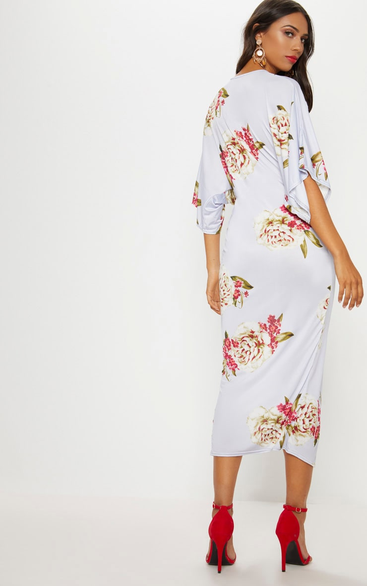 Dusty Blue Floral Print Twist Front Batwing Sleeve Midi Dress 2