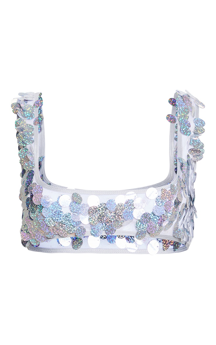 Silver Holographic Sequin Scoop Neck Bikini Top 3