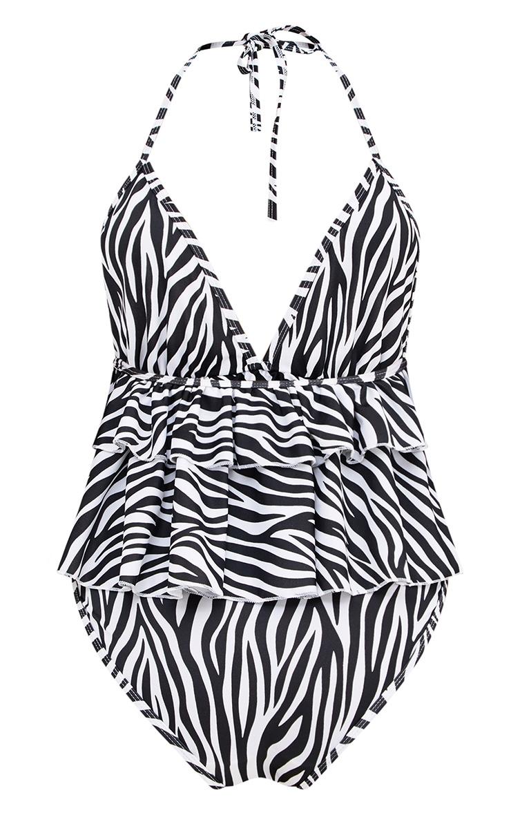 Zebra Print Frill Layer Swimsuit 4