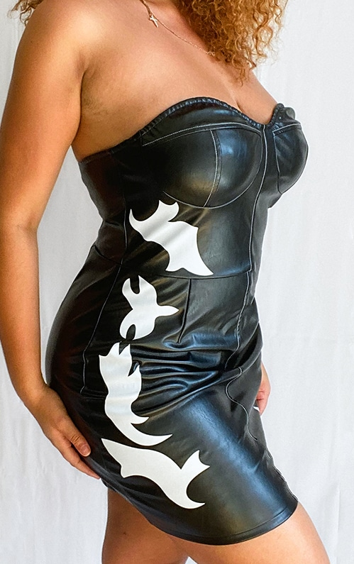 Plus Black PU Western Style Bandeau Bodycon Dress 3