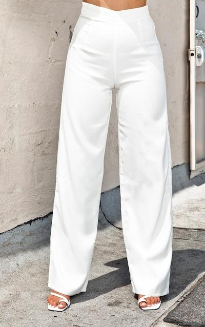 Cream Wide Leg Pleat Front Trouser