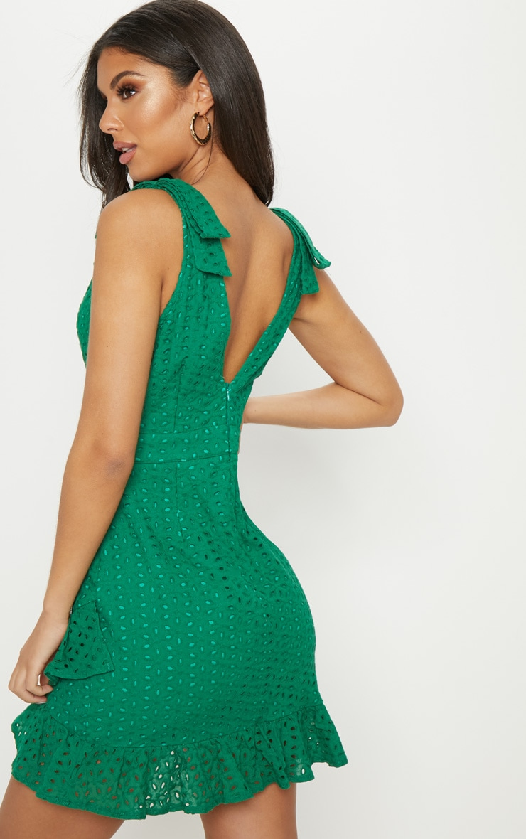 Green Broderie Anglaise Strap Detail Frill Hem Shift Dress 2