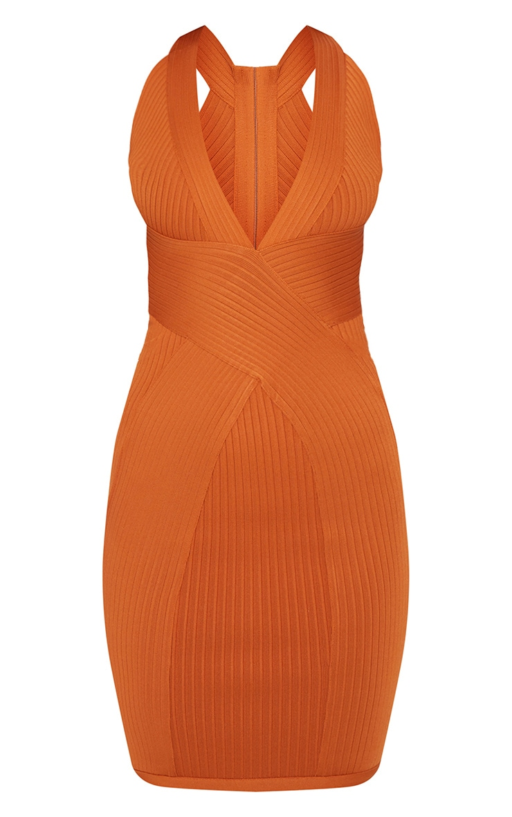 Rust Plunge Bandage Midi Dress 3