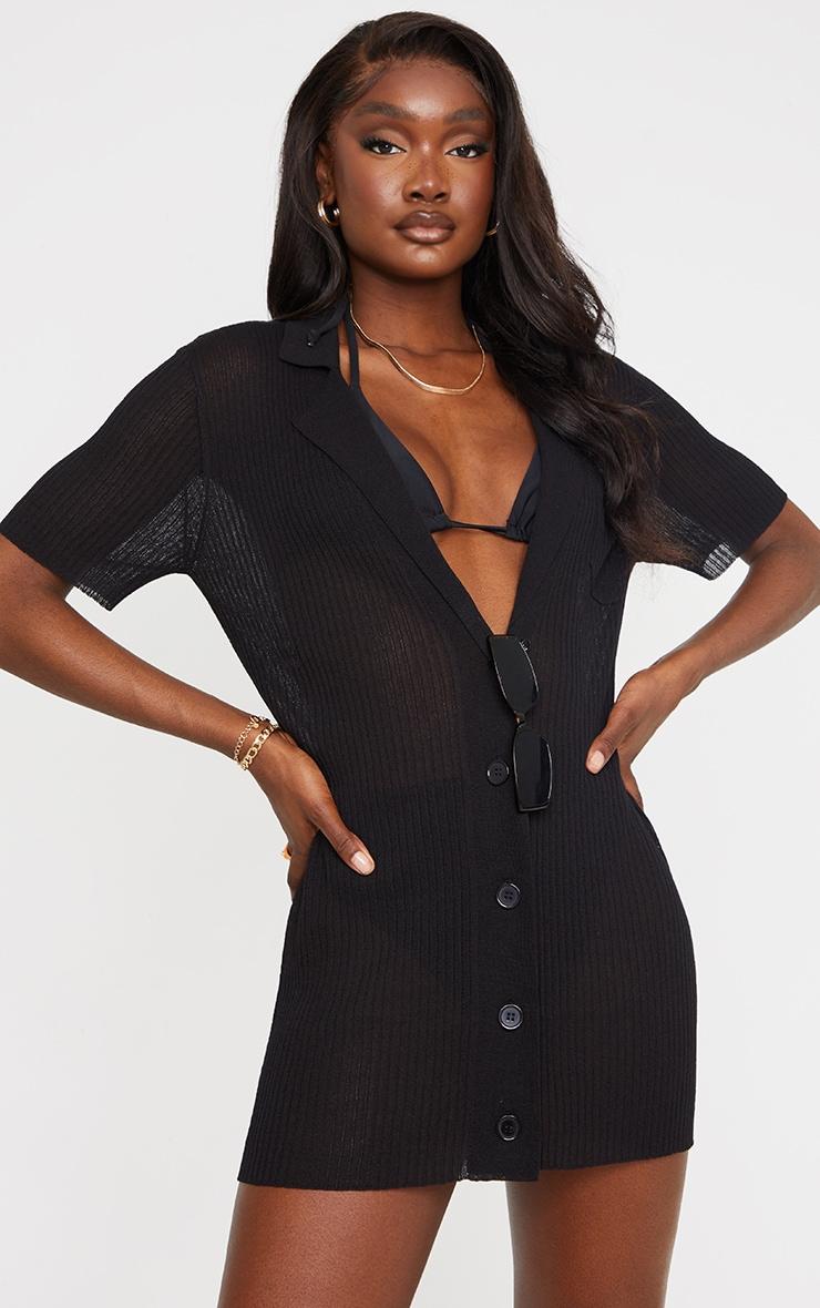 Tall Black Sheer Knitted Mini Dress 1