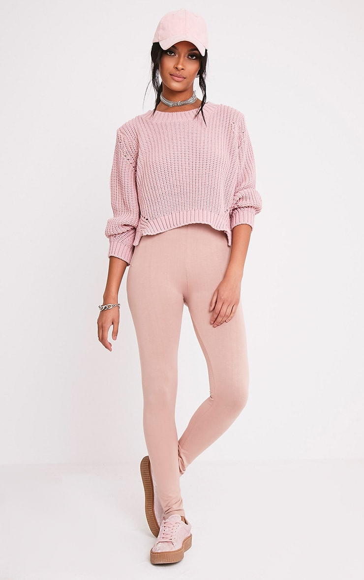 Aine Blush Fisherman Knit Cropped Jumper 4