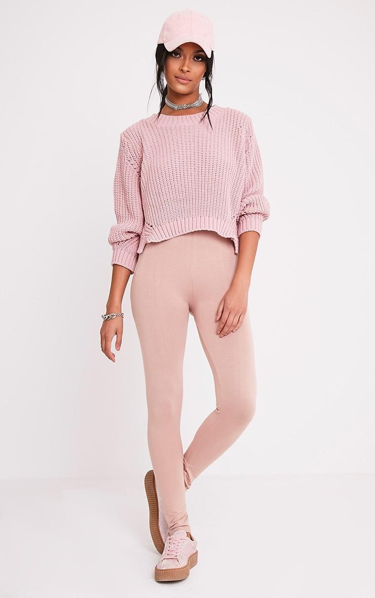 Aine pull court tricoté style pêcheur rose pâle 4