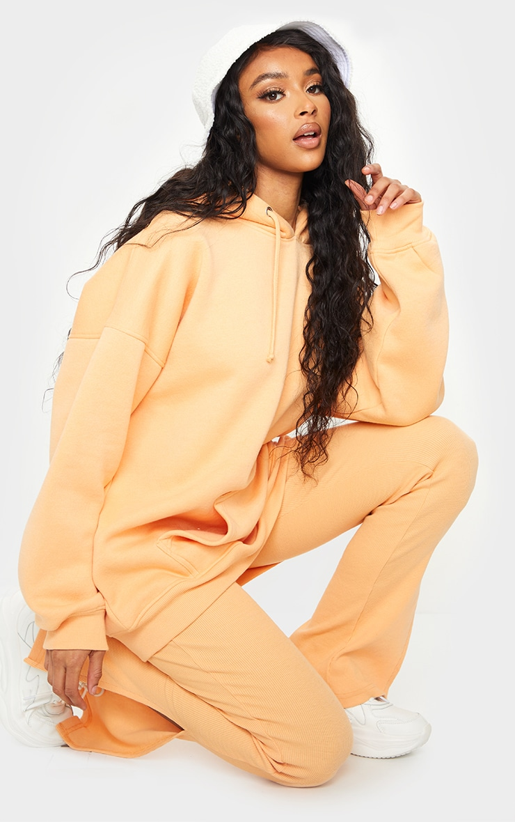 Peach Oversized Pocket Front Drawstring Hoodie 3