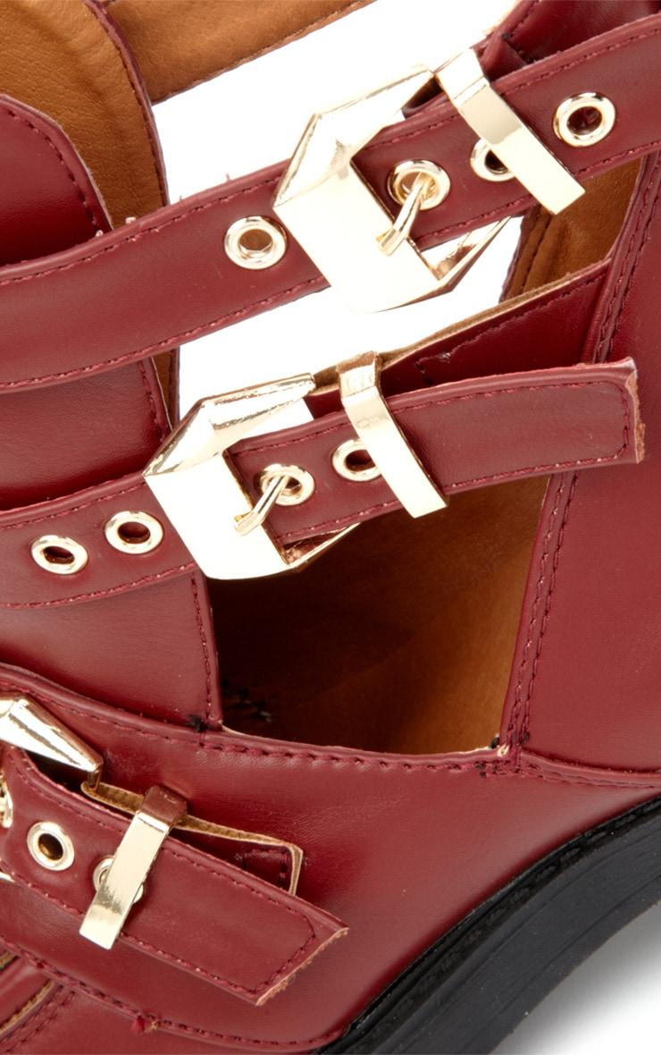 Jennifer Burgundy Cut Out Boots 4
