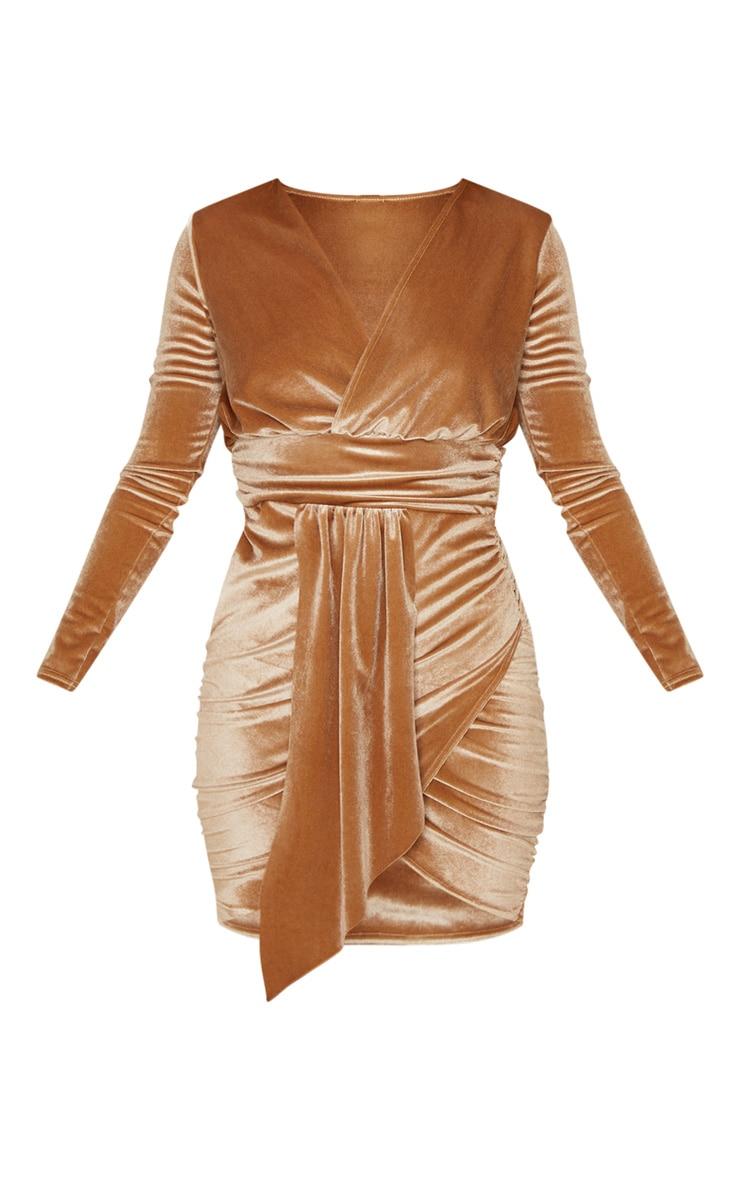 Mocha Velvet Drape Detail Ruched Bodycon Dress 3