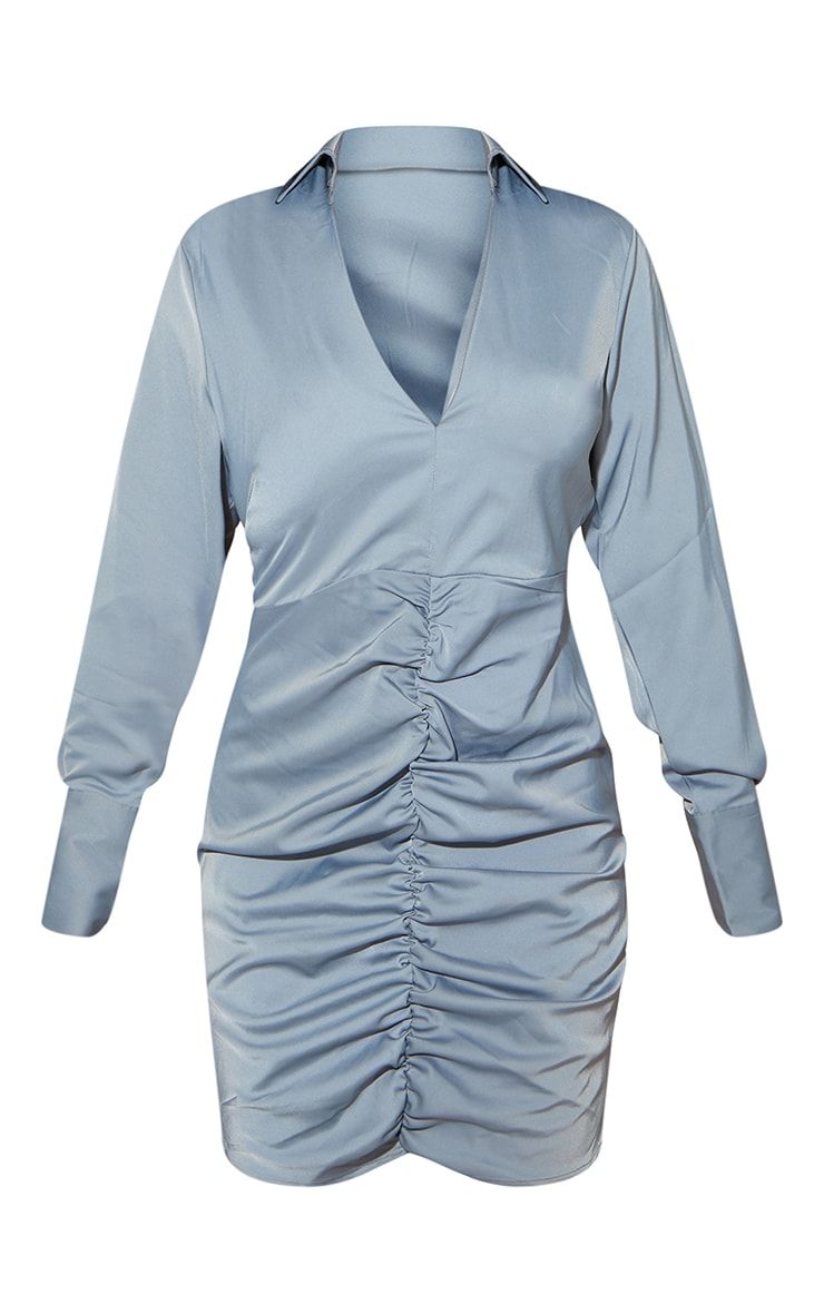 Blue Woven Long Sleeve Ruched Detail Shirt Dress 5