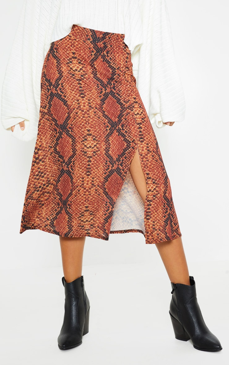 Red Snake Print Floaty Midi Skirt 2