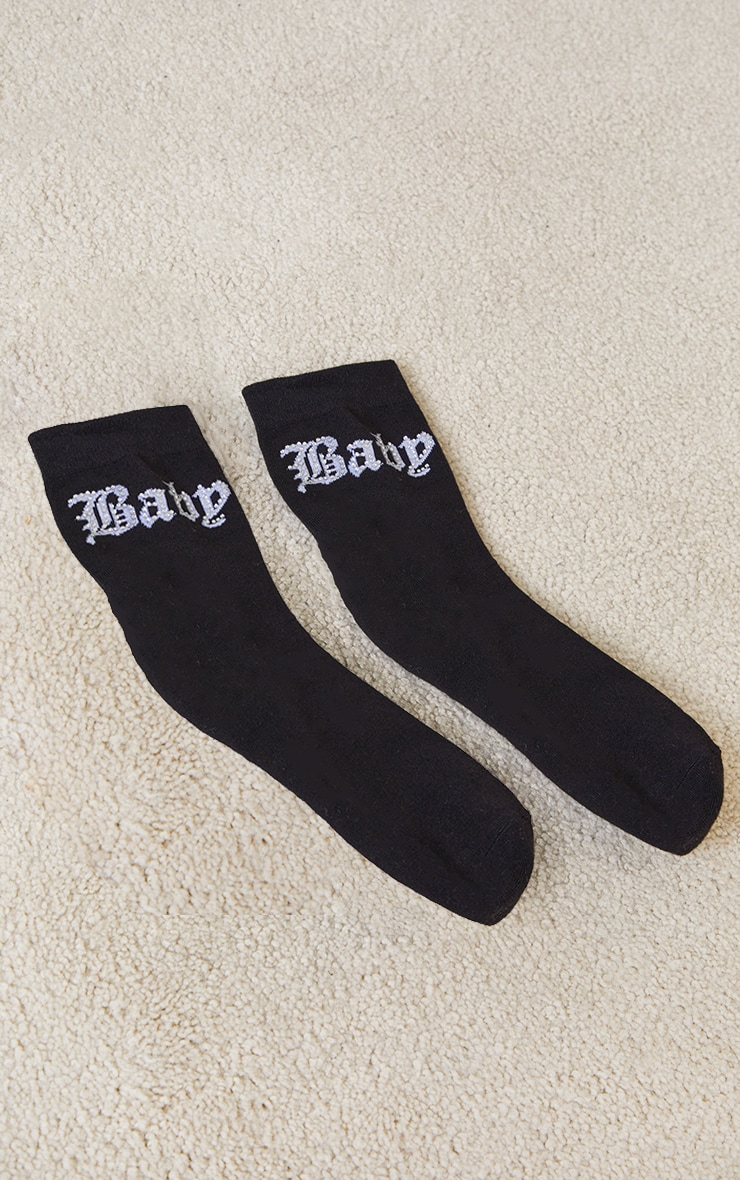 Black Diamante Baby Ankle Socks 3