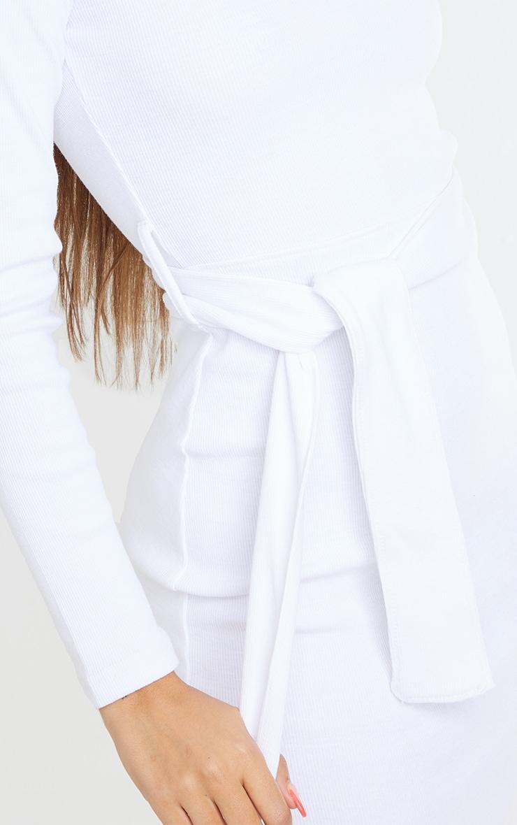 White Thick Rib One Shoulder Tie Waist Midi Dress 4