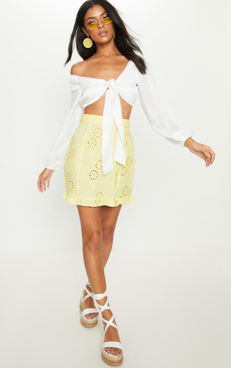 White Woven Bardot Tie Front Crop Top 4
