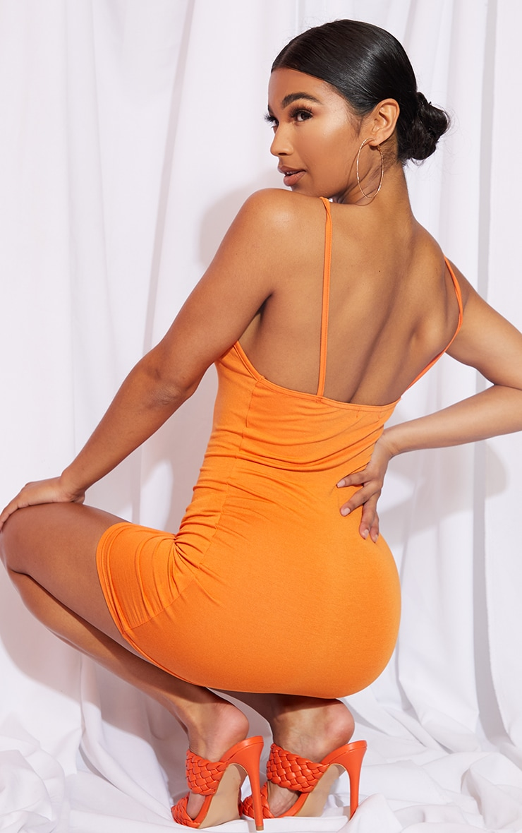 Orange 90s Neck Bodycon Dress 2