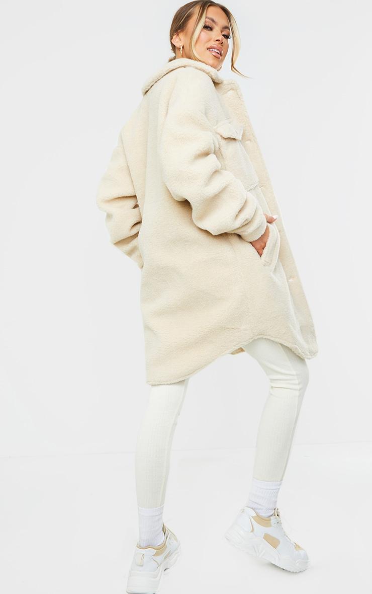 Cream Brushed Woven Oversized Longline Shacket 2