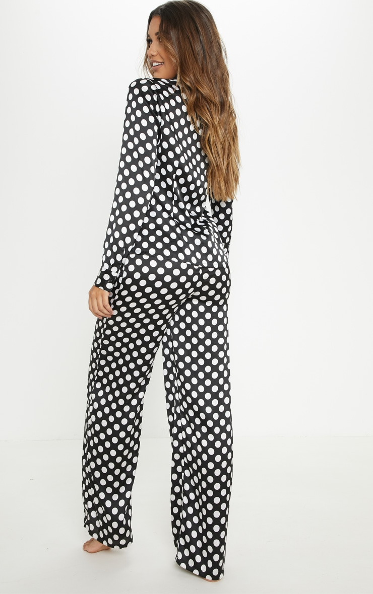 Monochrome Polka Print Long Sleeve Satin Pyjama Set 2