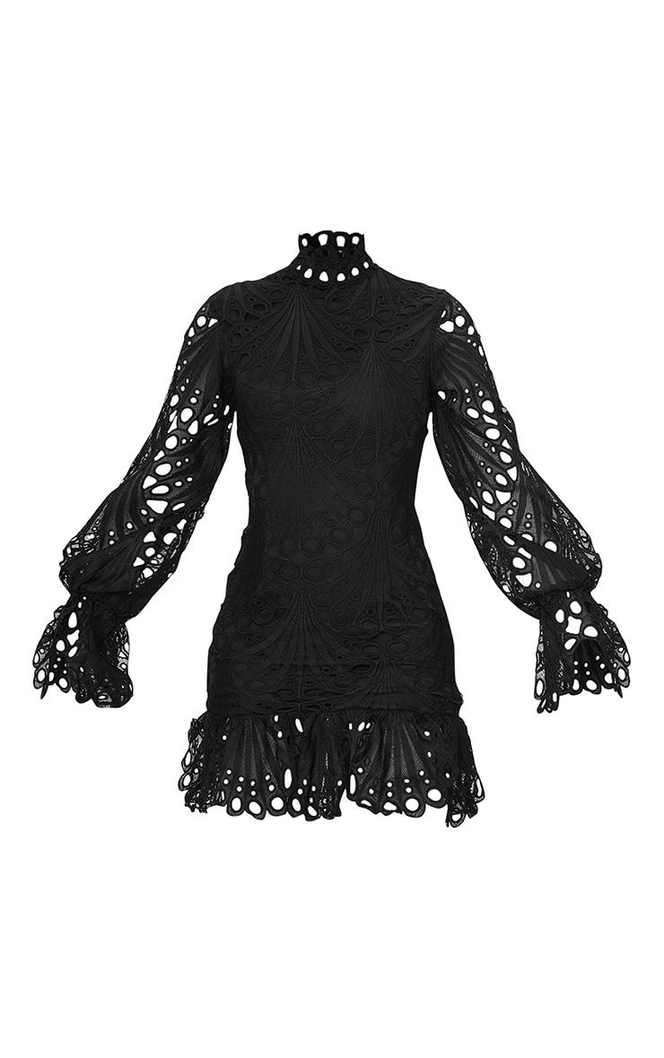 Black High Neck Lace Long Sleeve Frill Bodycon Dress 5