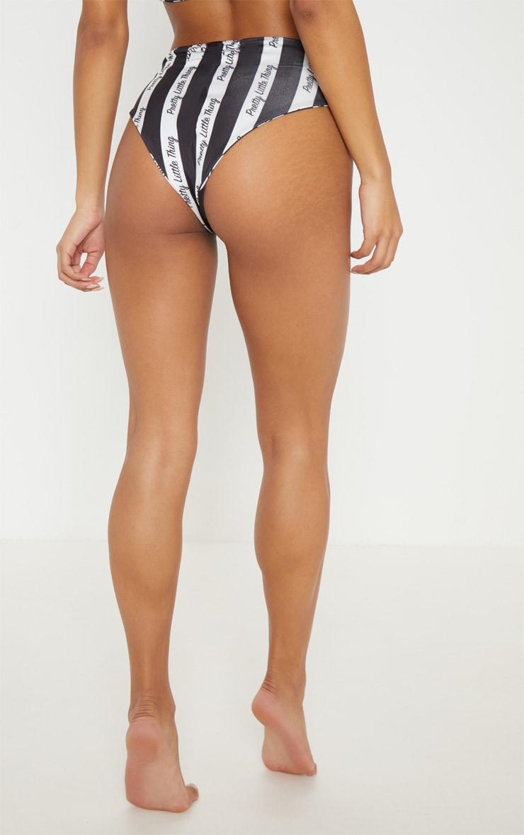 PRETTYLITTLETHING Mono Stripe Bikini Bottom 4