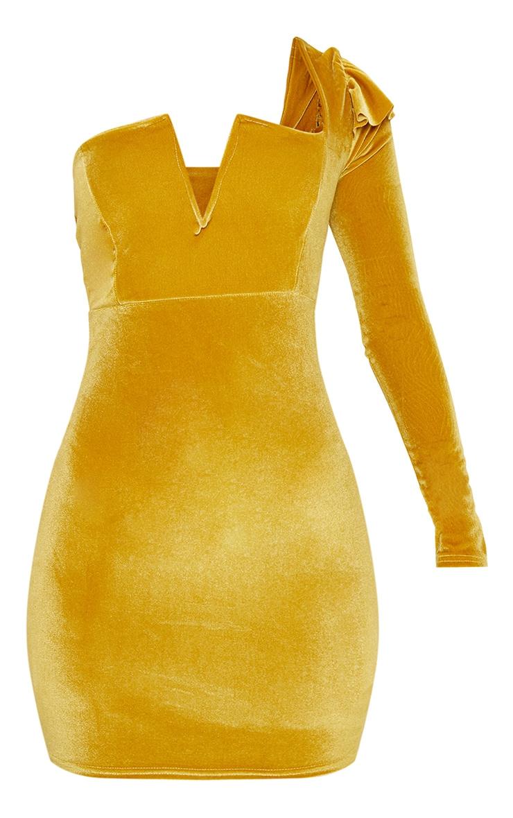 Mustard Velvet Plunge One Shoulder Bodycon Dress 3