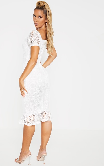 White Cup Detail Lace Bardot Midi Dress