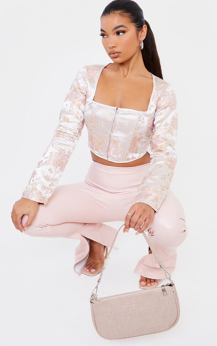 Light Pink Satin Print Zip Front Long Sleeve Corset 3