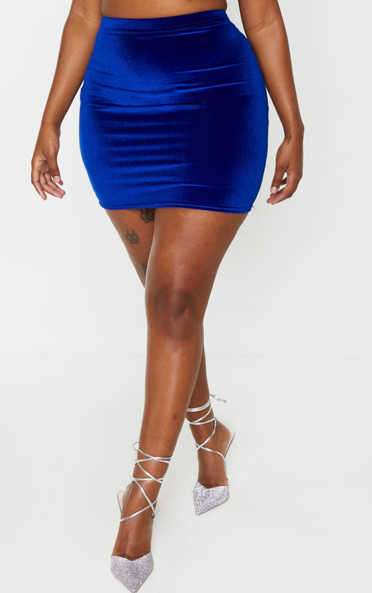 Shape Cobalt Velvet High Waist Bodycon Skirt 2