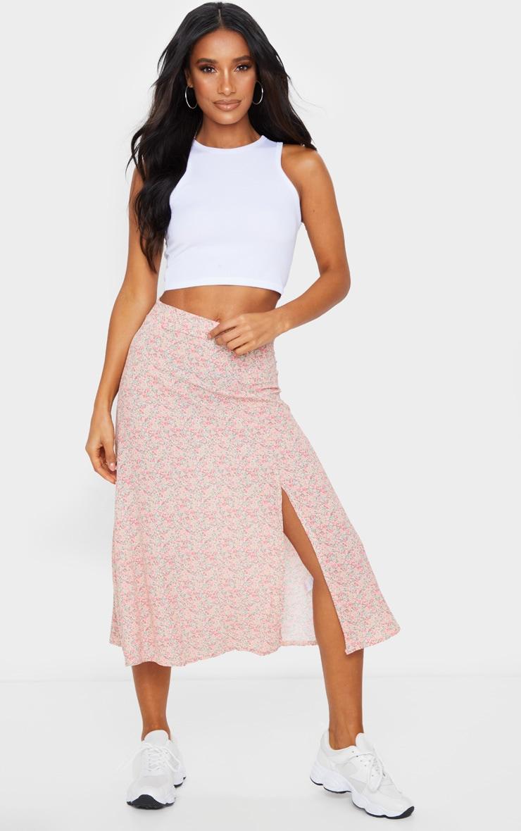 Pink Ditsy Floral Print Floaty Midi Skirt 1