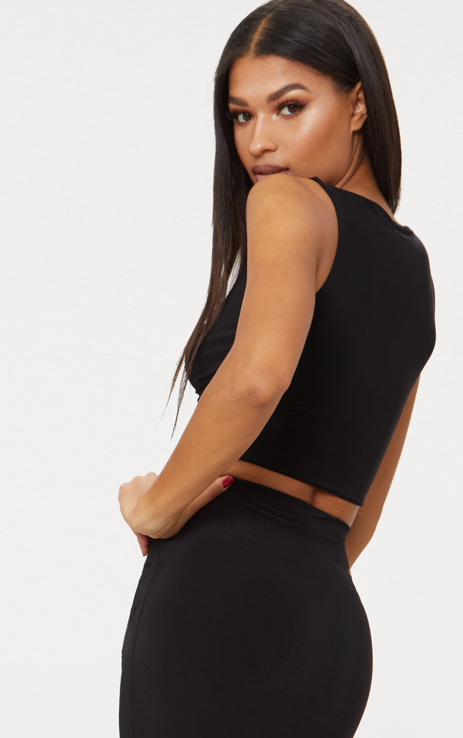 Black Slinky Wrap Plunge Crop Top  2
