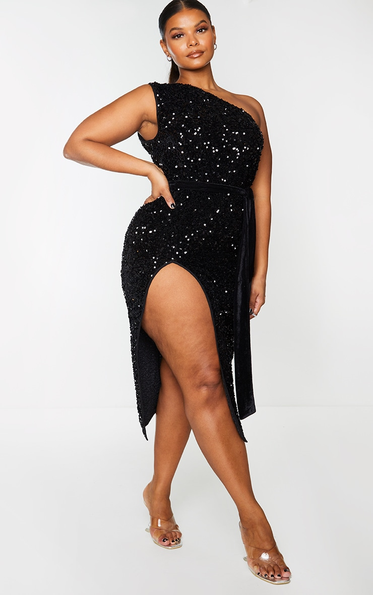 Plus Black Premium Velvet Sequin One Shoulder Tie Waist Midaxi Dress 3