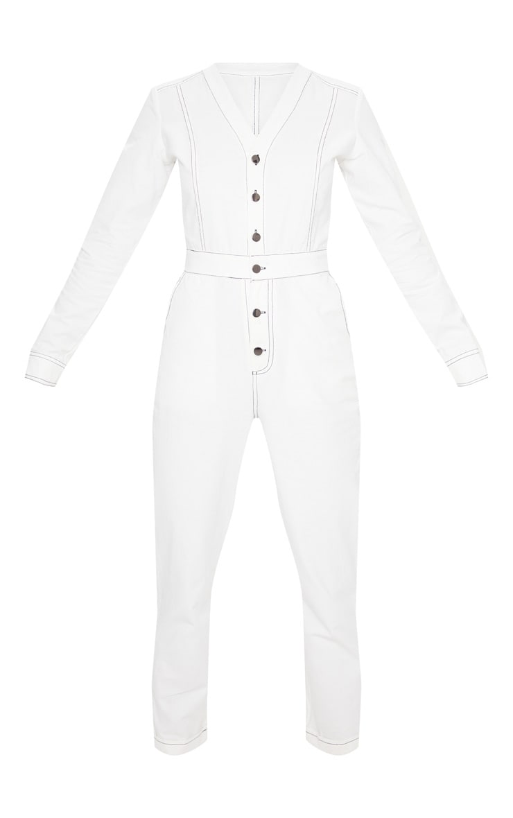 White Button Detail Contrast Stitch Denim Boilersuit 5