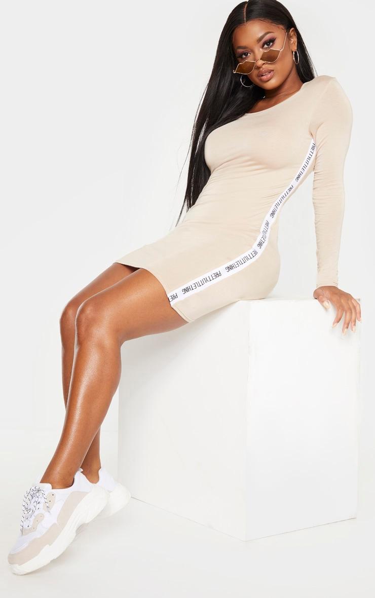 PRETTYLITTLETHING Shape Stone Side Tape Bodycon Dress 1
