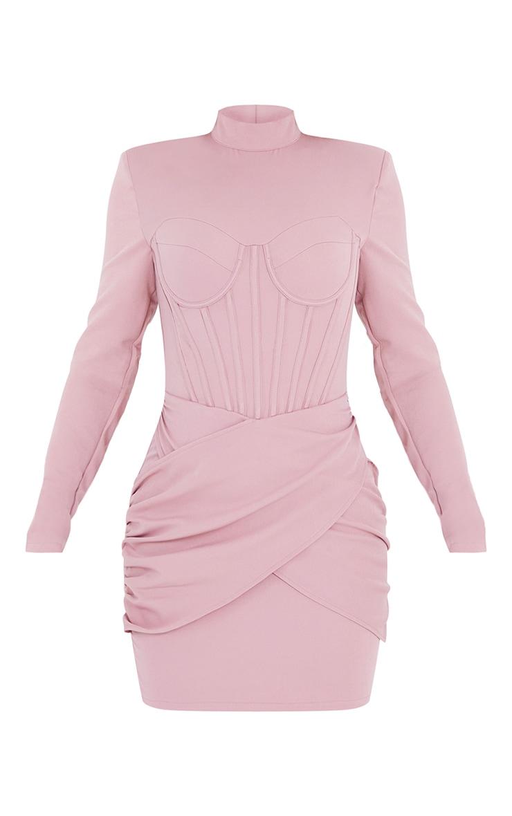 Mauve High Neck Corset Detail Wrap Skirt Bodycon Dress 5