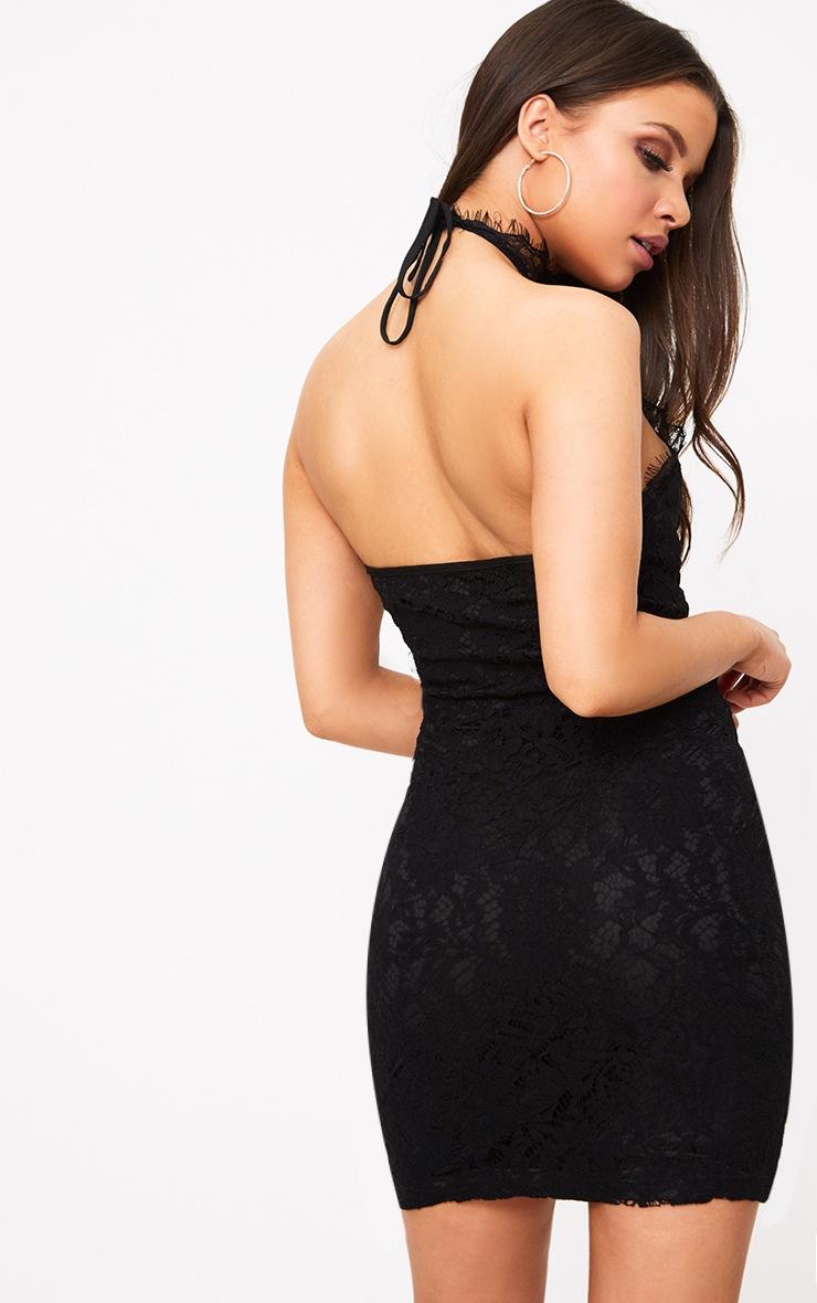 Shelby Black Lace High Neck Bodycon Dress 2