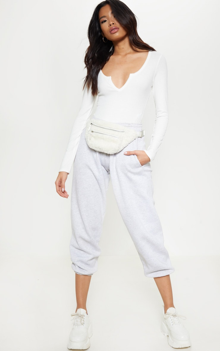 Cream V Neck Rib Bodysuit 5