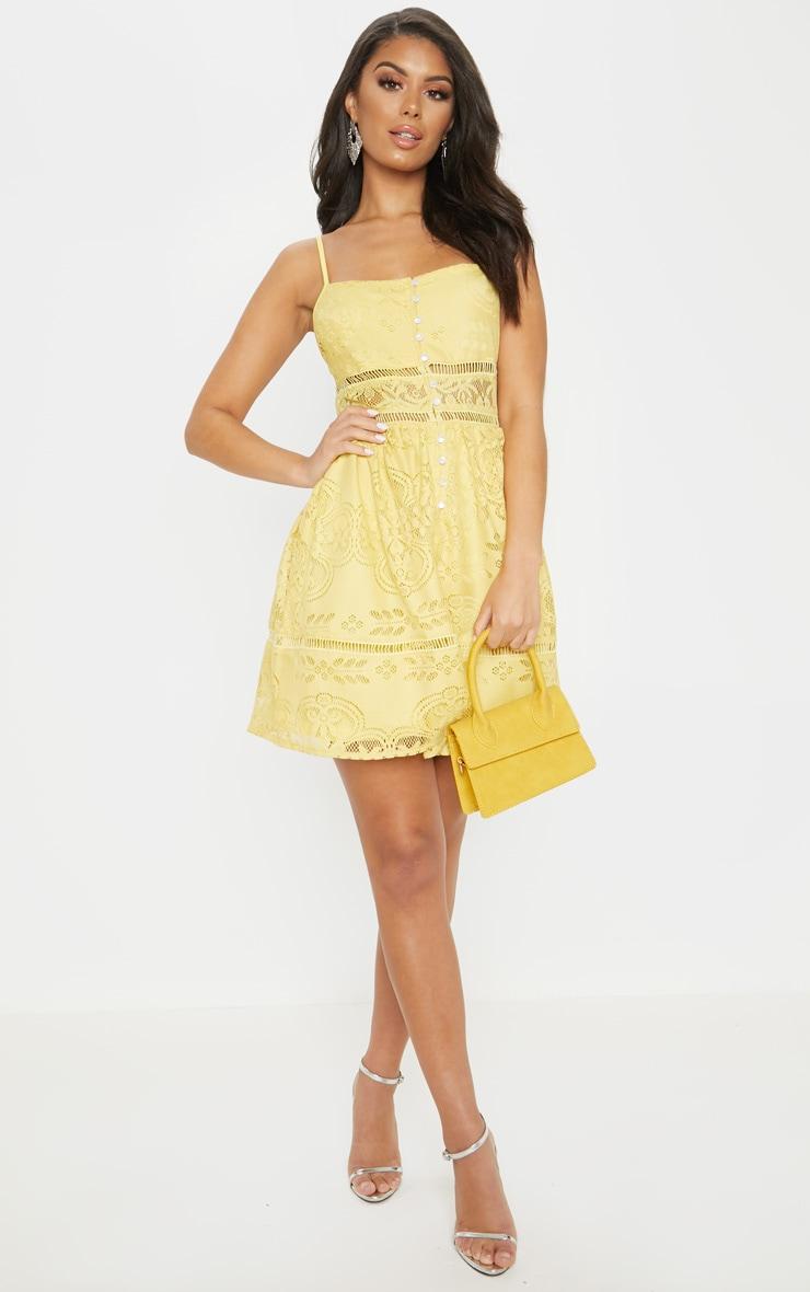 Yellow Lace Button Detail Skater Dress 4