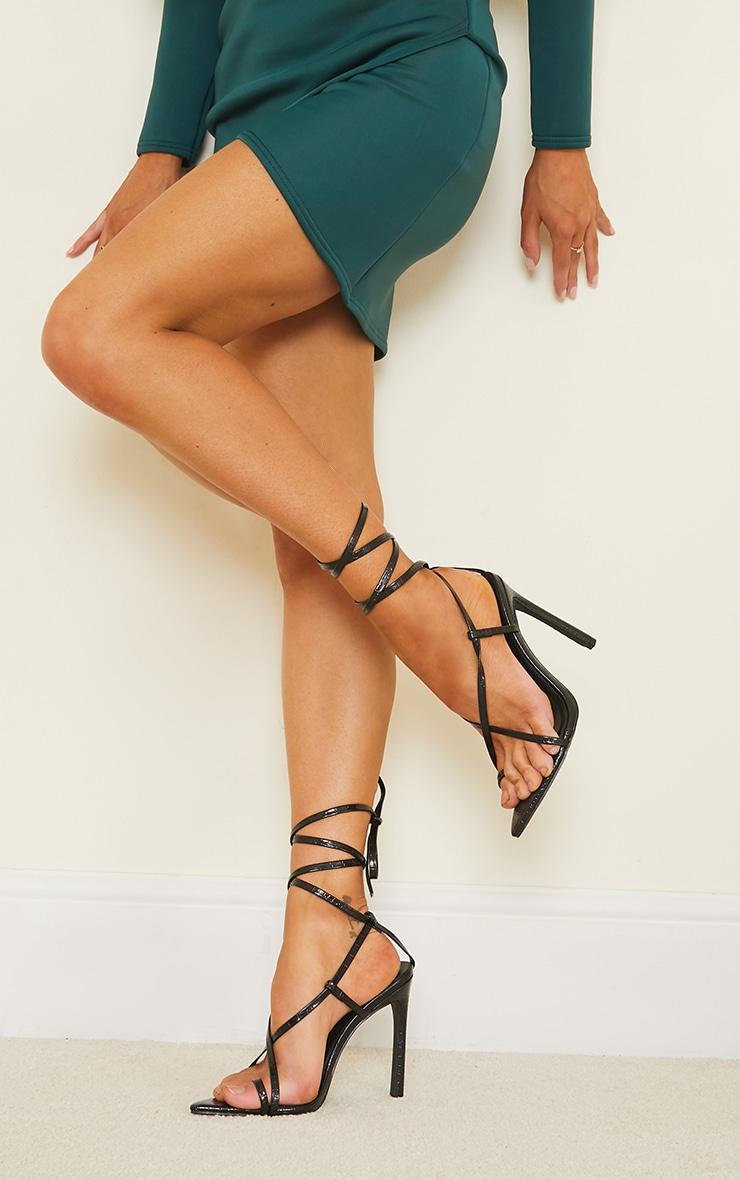 Black Croc PU Point Toe Strappy Heeled Sandals 1