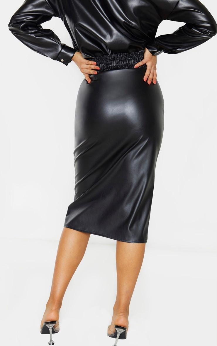 Tall Black Ruched Waist PU Midi Skirt 3