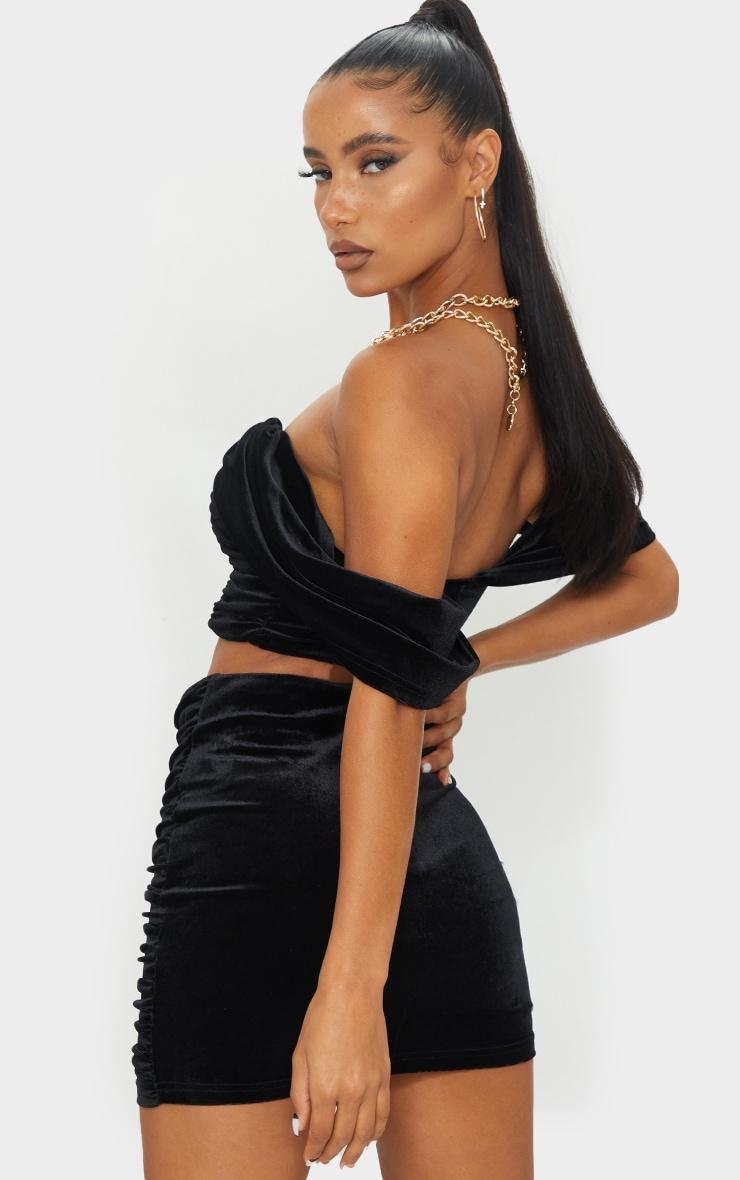 Black Velvet Bardot Draped Panel Bandeau Top 2
