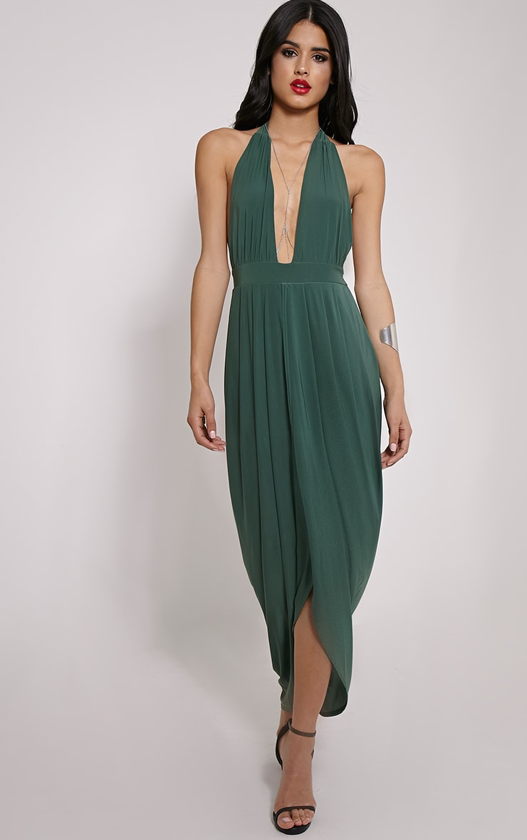 Biba Forest Green Halterneck Maxi Dress 4