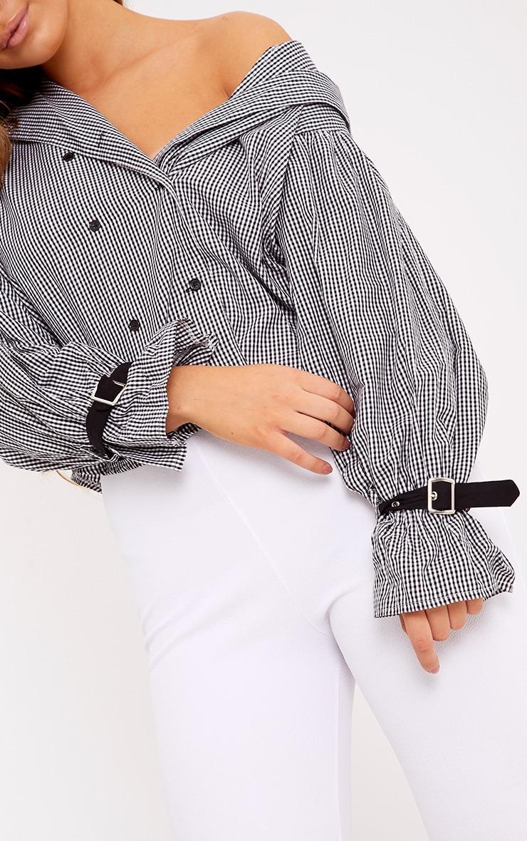 Divya Black Gingham Check Cuff Sleeve Off Shoulder Shirt 4